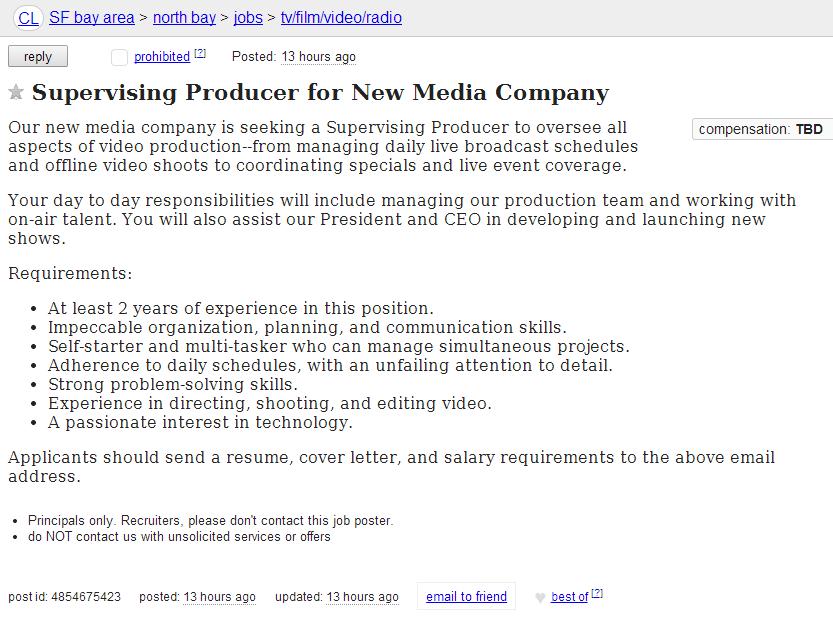 TWiT Craigslist Ad for Supervising Producer
